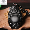 supply of natural counter Matte Black Obsidian free Buddha Pendant Crystal Necklace Jewelry evil men and women