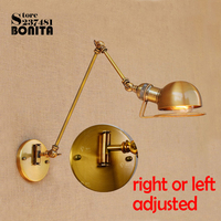 American industry Retro wall lamp Telescopic Long swing arm sconces lamp brass loft Iron wall lights copper