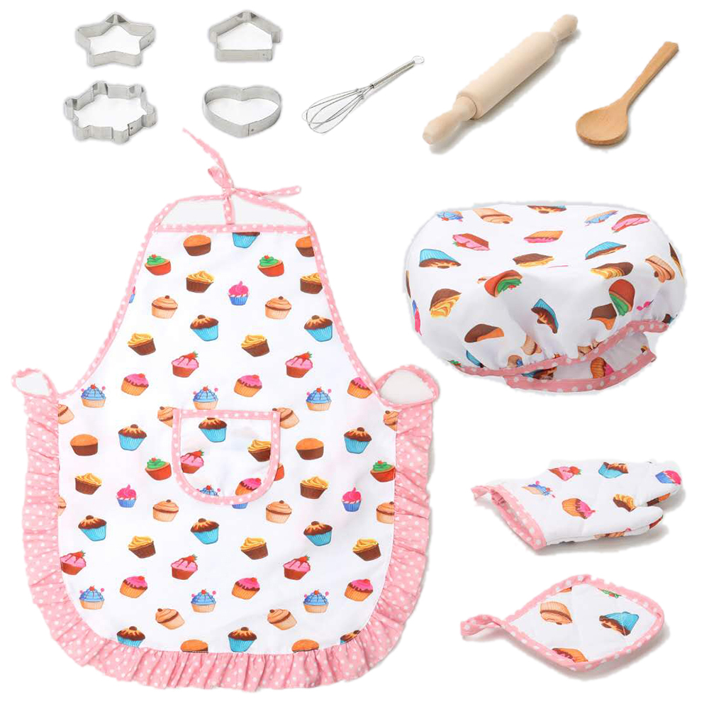 11Pcs/set Kids Simulation Kitchen Toy Sets Baby Girl Baking Clothes&Tool Pretend Play Children Cognition Prop Kids Gift Kit