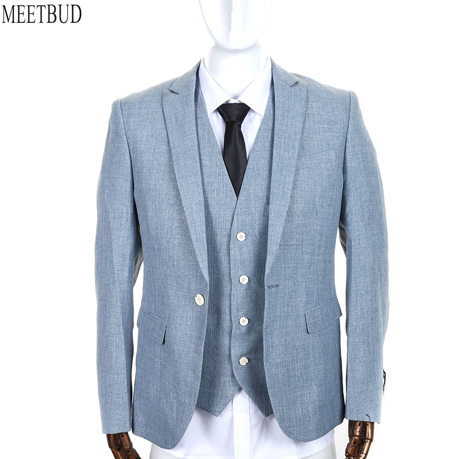 MEETBUD New brand men suit wedding slim fit business casual party ...