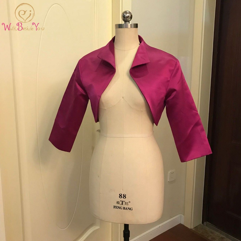 Walk Beside You Fuchsia Bolero Women Party Cape 3/4 Sleeves Shrugs Satin Bridal Jacket Bolero Feminino Adulto Custom Made 2019