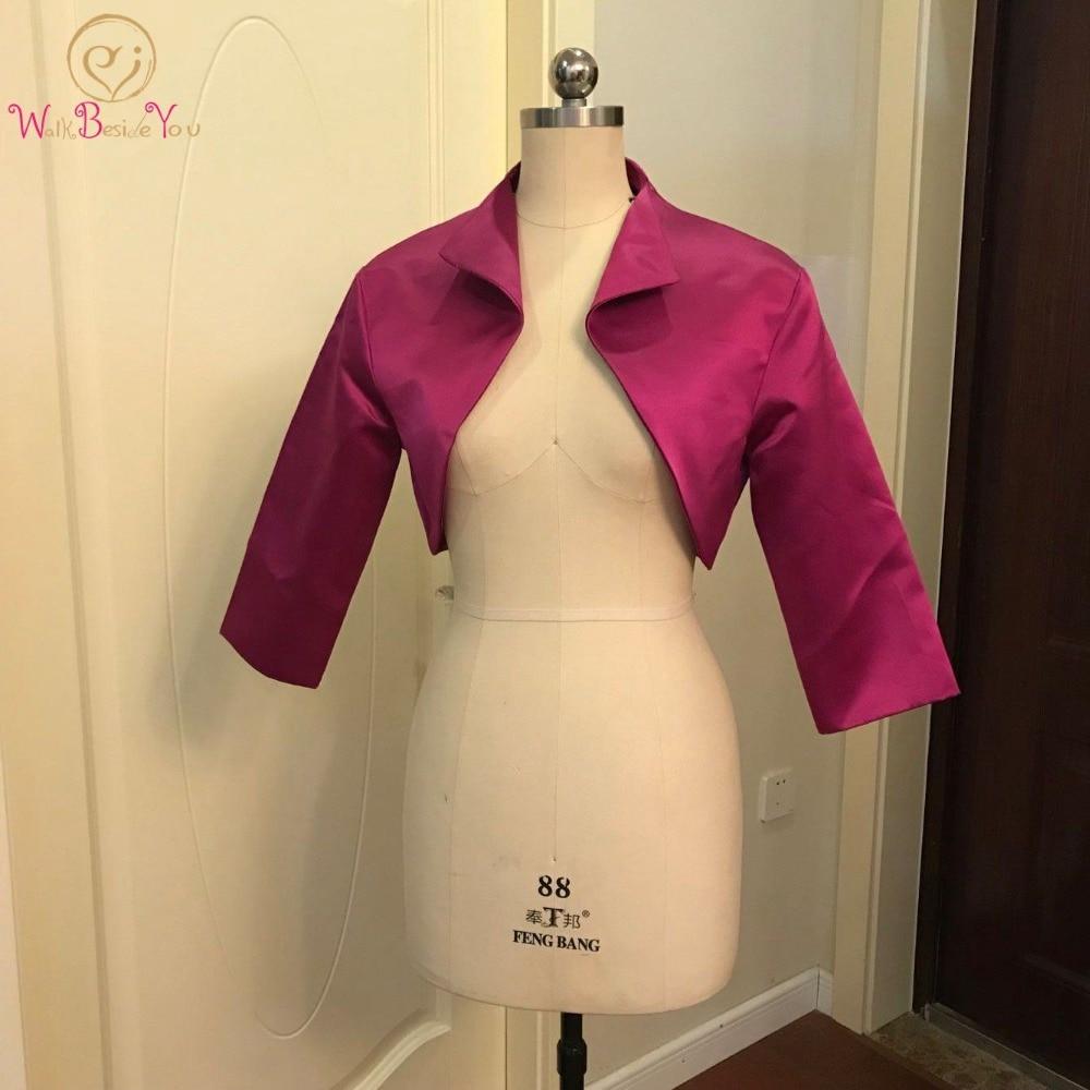 Walk Beside You Fuchsia Bolero Women Party Cape 3/4 Sleeves Shrugs Satin Bridal Jacket Bolero Feminino Adulto Custom Made 2019