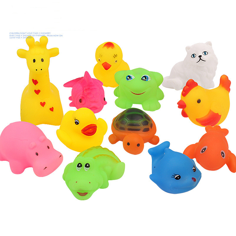12Pcs/Set Cute Soft Rubber Duck Float Squeeze Sound Baby Wash Pool Play Animals Kids