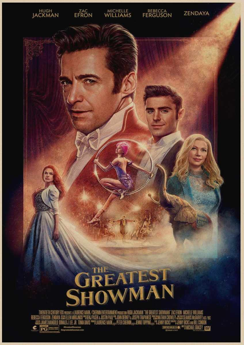 The Greatest Showman Poster Wall Art Retro Kraft Paper Paper Movie Posers  Clear Image Home Decoration Wall Stickers A1