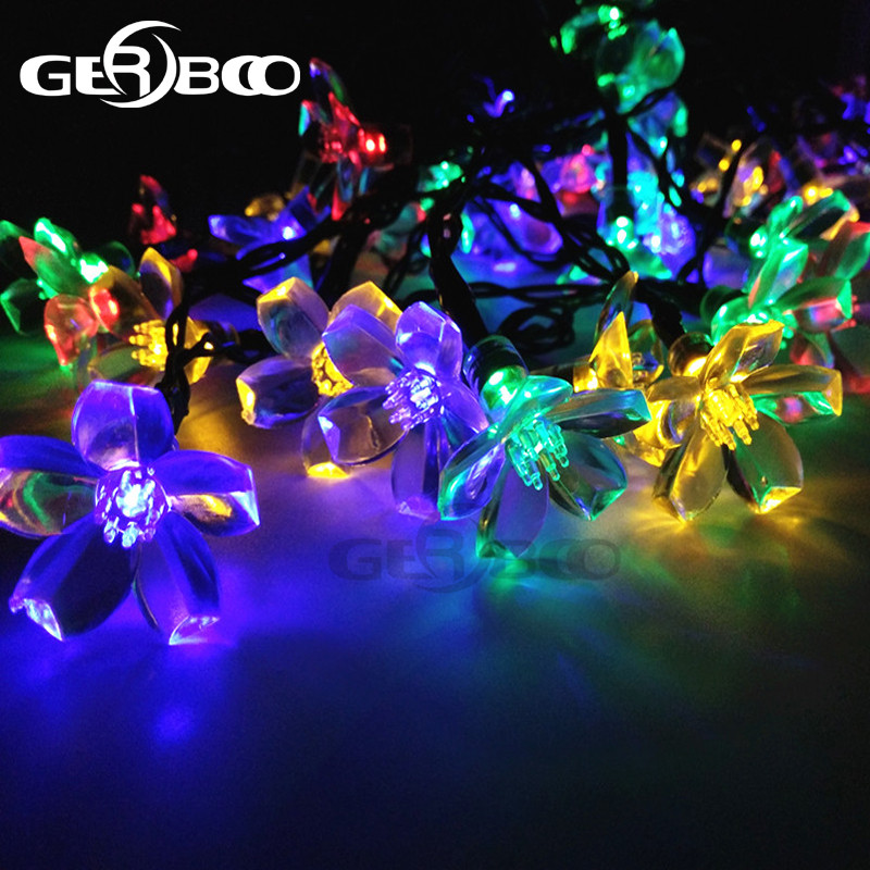 outdoor lighting led solar string fairy lights solar power peach flower lamp for garden light christmas decoration