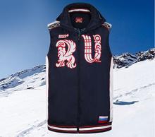 Herren Winter Sport Russische Team Unten Baumwolle Westen Vorwärts Russland Jacke Männlichen Taschen Mantel Für Männer Sport Radfahren Mäntel