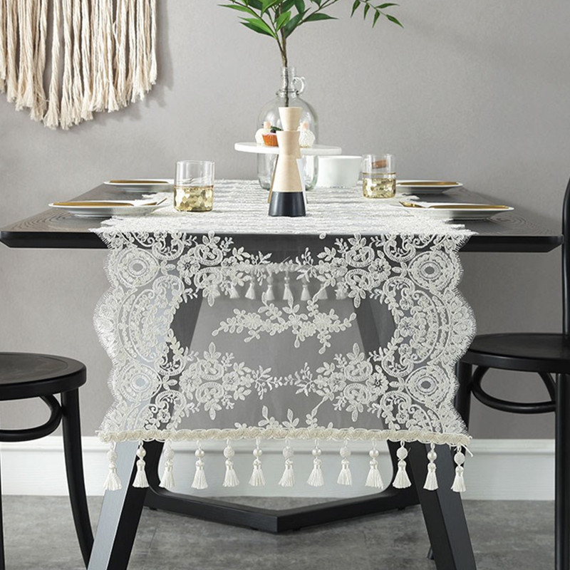 White Embroidery Table Runner Elegant Lace Tableware for ...