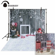 Allenjoy photographic background Christmas snowman gray woodwall snowflake backdrop newborn photobooth vinyl