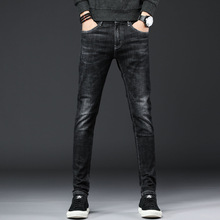 цена New Korean fashion Slim, worn, cat cotton jeans Men's spring stretch straight feet casual trousers в интернет-магазинах