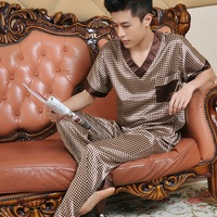 Siriusha Sleepwear Male Silk Short Sleeve Length Pants Thin Silk Spring And Autumn High Quality Silk