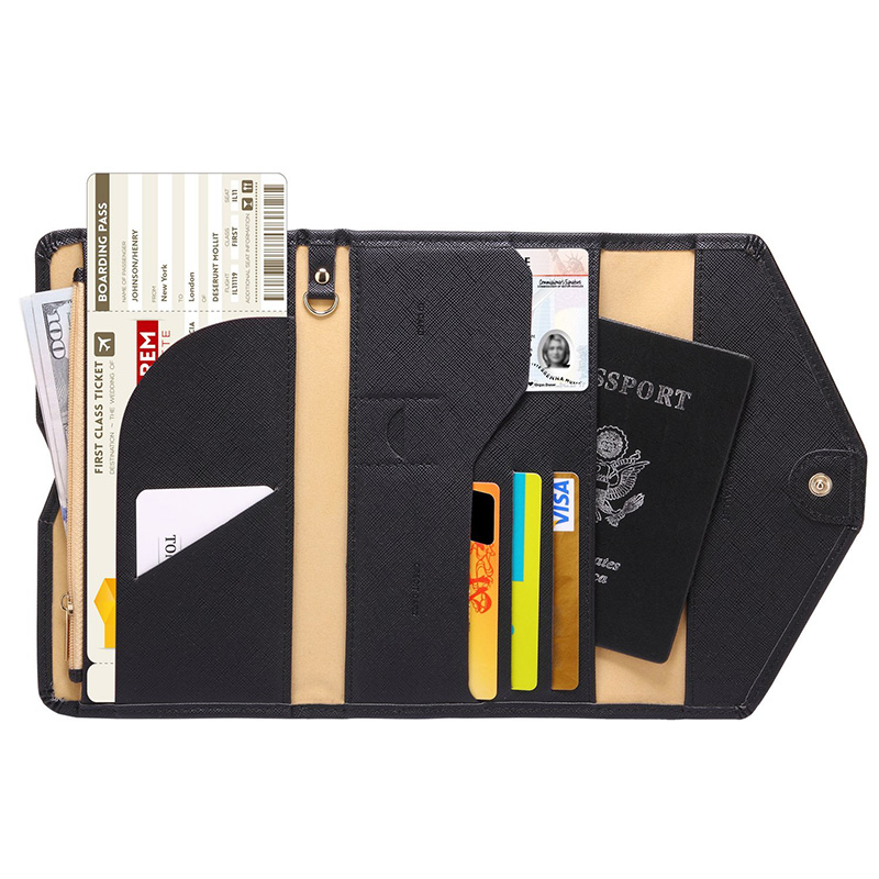 Travel Wallets Passport Cover ID Card Wallet Passport Document Ticket Organizer Bag with Credit Card Holder Cash Holder Wallets lxhysj fashion print passport bag lady travel passport file credit card identity card holder organizer multi functional bag