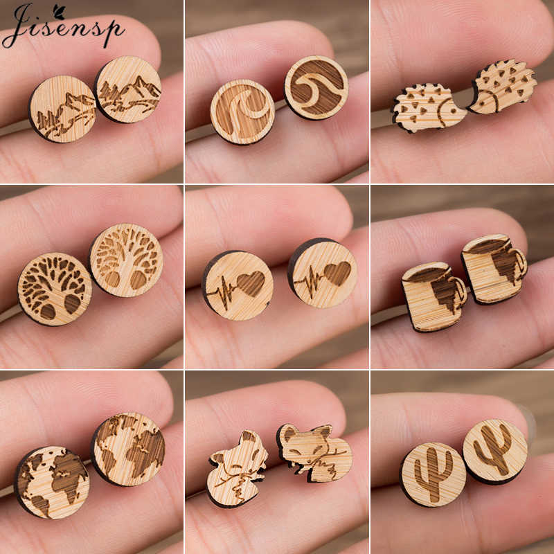 Jisensp Wood Women Earing Cute Animal Fox Stud Earring for Girls Kids Small World Map Earings Piercing Pendientes Boho brincos