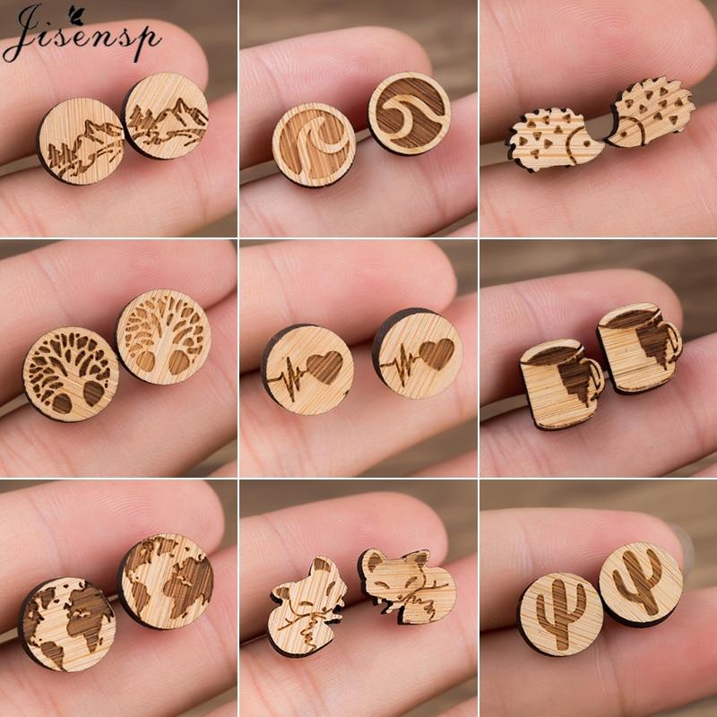 Jisensp Wood Women Earing Cute Animal Fox Stud Earring For Girls Kids Small World Map Earings Piercing Pendientes Boho Brincos