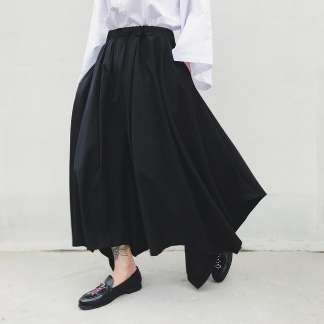 S-XXL!! Dark spring and autumn tide big size new alternative big skirt big bell pants nine points wide leg pants 3