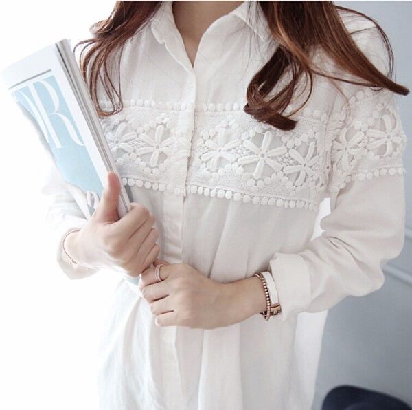 Lace stitching work maternity shirt long sleeve loose shirt new fashion clothes spring and autumn maternity clothing