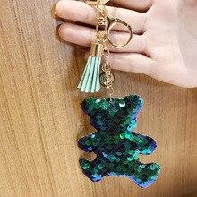 Симпатичный брелок с блестками цепочка для ключей с медведем женская сумка для автомобиля аксессуары на кольцо для ключей