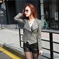 Женщины плюс размер N-3XL кожаная куртка мода включите воротник Кожа и Замша Искусственная Кожа Пальто карман на молнии черный/серый