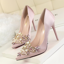 Womens high heels retro Europe and America sexy elegant banquet shoes shallow mouth pointed silk satin pearl rhinestone
