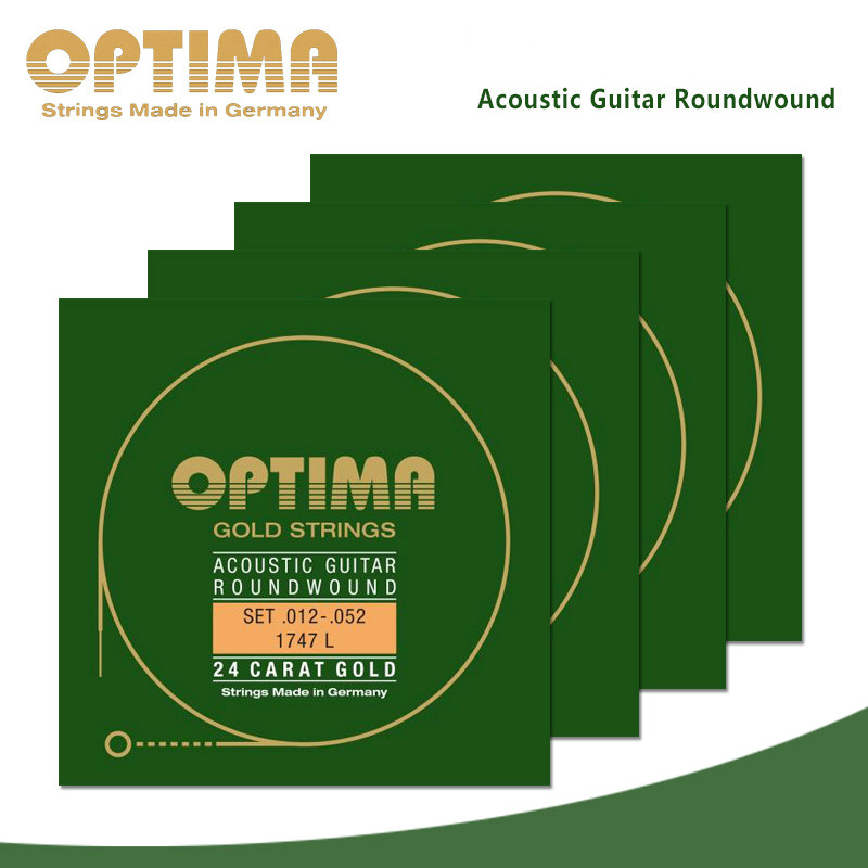 Optima 1747 24k Gold Acoustic Guitar Strings, Made in Germany pirastro gold e evah pirazzi violin strings 419521 full set made in germany free shipping