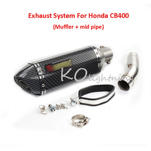 CB400 Motorcycle Exhaust Muffler Mid Middle Link Pipe Slip On System For Honda