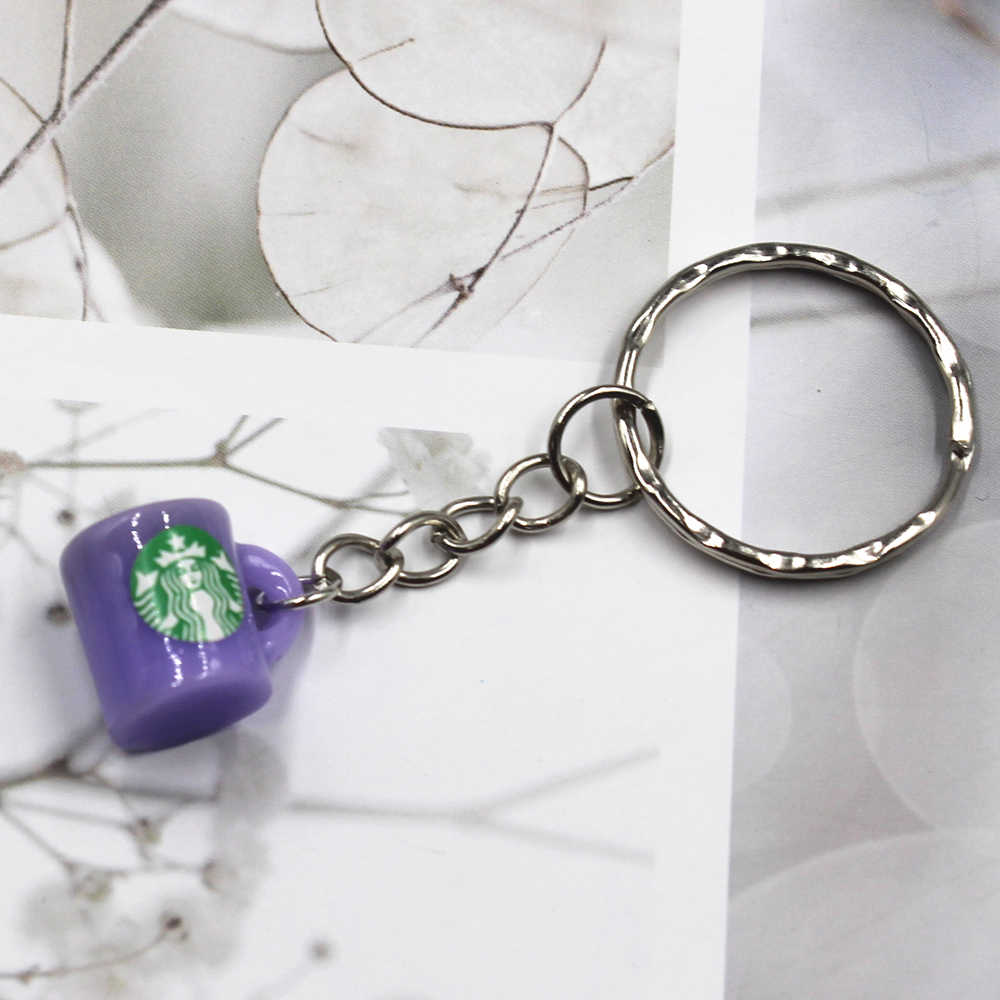 Hot Sell  Coffee cup Keychain Male Car Keyring Metal Auto Key Holder Gift For Men