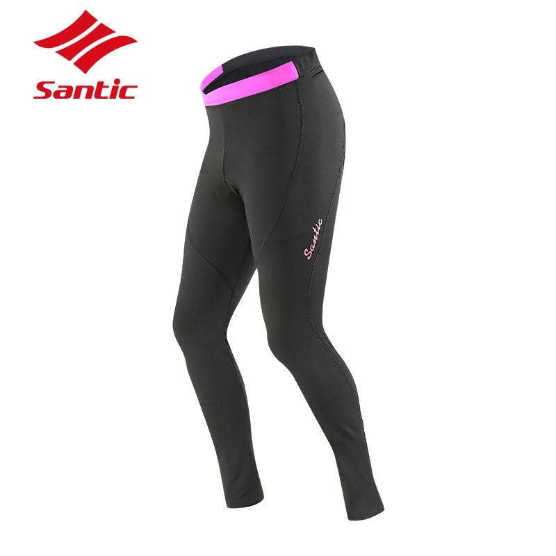 ФОТО Santic Professional Women Cycling Pants Autumn Winter Padded MTB Mountain Road Bike Pants Bicycle Clothing Pantalon Ciclismo