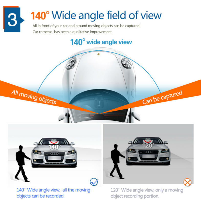 "5.0"" Touch Android 4.4 ROM Dual lens FHD1080P camera WiFi GPS parking car dvrs Rearview mirror video recorder Car DVR 4"