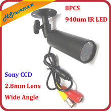 waterproof Mini CCTV CAMERA 8PCS IR 940nm No red storm Nightvision Sony 800TVL Bullet Camera WIITH HD 2.8mm Wide-angle LENS