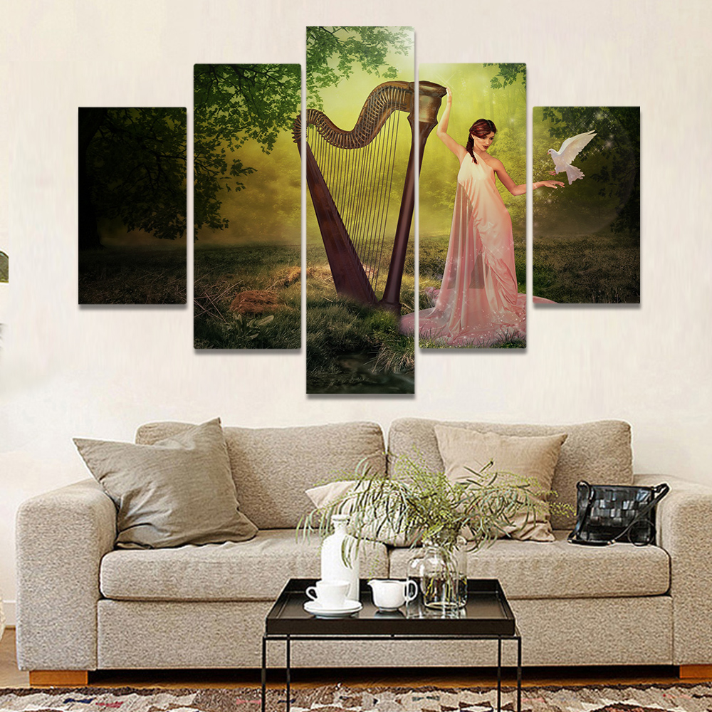 Unframed Canvas Painting Harp Pretty Girl Pigeon Forest Art Picture Prints Wall Picture For Living Room Wall Art Decoration