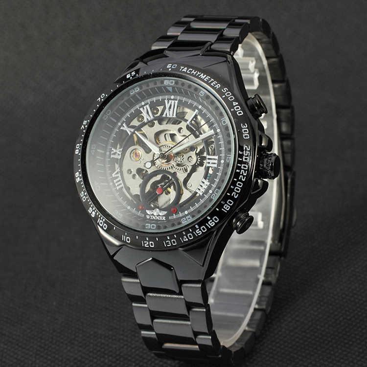 WINNER Venta caliente negocio Metal vestido negro bisel hueco Roma Dial reloj mecánico Correa totalmente de acero Auto viento