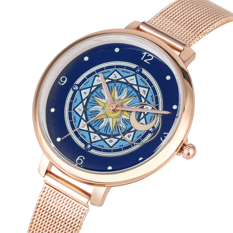Women Watch Quartz Analog Cardcaptor Sakura Dial Ladies Watches Steel Mesh Band Clock Female Zegarek Damski