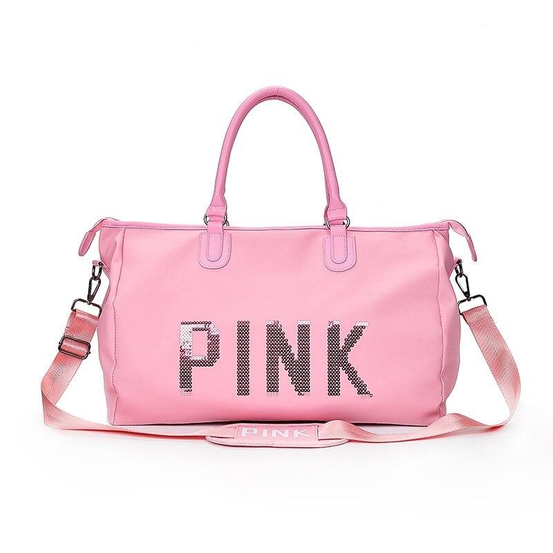 SAFEBET 2018Ping Ladies Black Travel Bag Pink Sequins Shoulder Bag Women Handbag Ladies Weekend Portable Bag