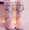 2017 Woman Winter Warm Boots Genuine Leather Handmade Rhinestone Hello Kitty Pearls Pink Women's Snow Boots Shoes Big Size