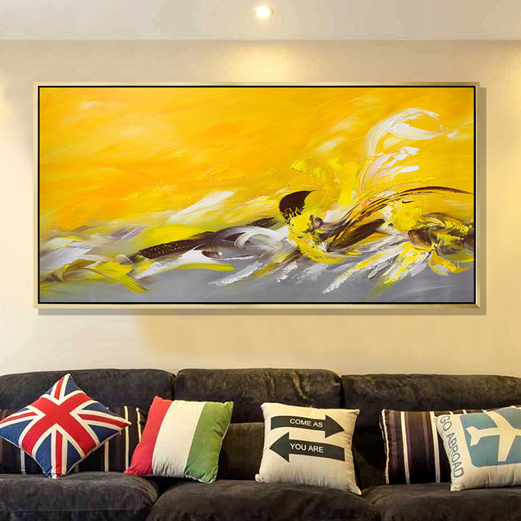 JYJ ART Yellow Color Hand painted Modern Abstract Oil Painting on ...