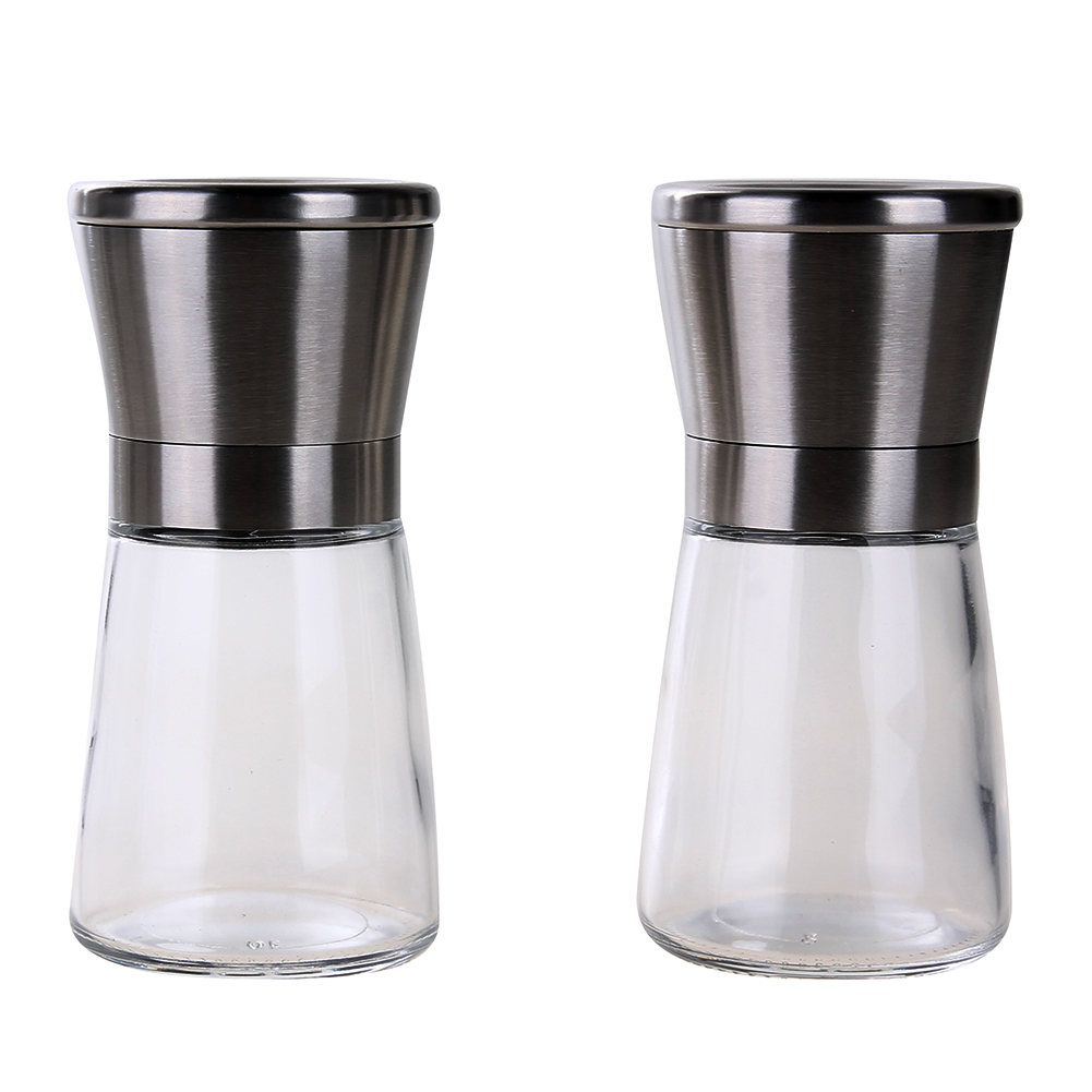 2pcs Salt and Pepper Grinder Set Stainless Steel Pepper Mill and Salt Mill Adjustable Ceramic Rotor