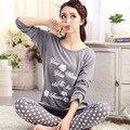 2016 Mulheres de Outono 100% Algodão Sleepwear 2 Peças/set Longos Sets Manga do Pijama Nightwear Nightgowns Casa Roupas Para Mulheres Casuais