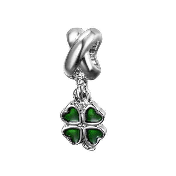 free shipping1pc green pink white enamel lucky clover bead pendant dangle Charm Fits European Pandora Charm Bracelets B001(China)