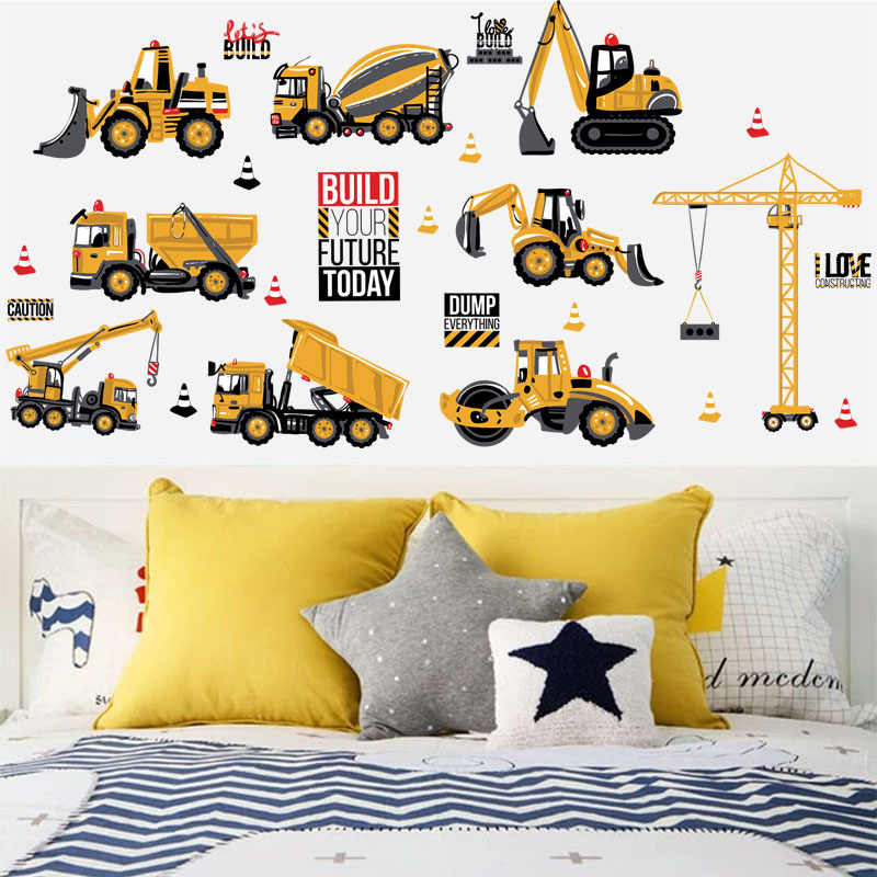 DIY kids room cars wall stickers removable baby children\'s bedroom digger  wall decals home decor cartoon nursery wall poster