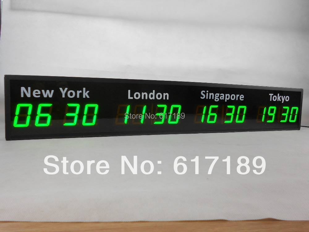 4 Time Zones Customized 2 3inch 4 Digits Wall Led World