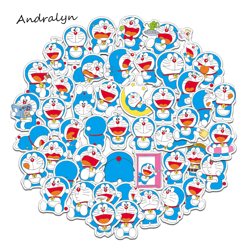 61 Pcs/Set Doraemon Graffiti Stickers For Luggage Laptop Notebook Refrigerator Car Motorcycle Toy Phone Cartoon Stickers