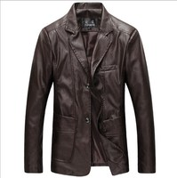 Mens Slim Fit Leather Blazers Jackets Khaki Brown Black Leather Blazer Big Men Plus Size Work Wear Clothing M 4XL 5XL 6XL