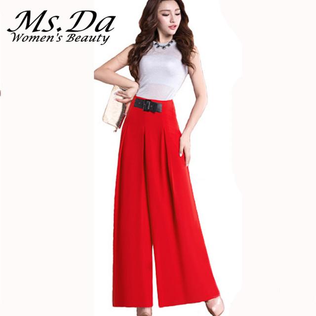 2016 nova primavera flare calças das mulheres calças de perna larga de alta cintura Chiffon Escritório Calças Palazzo Plus Size Preto Vermelho Azul verde