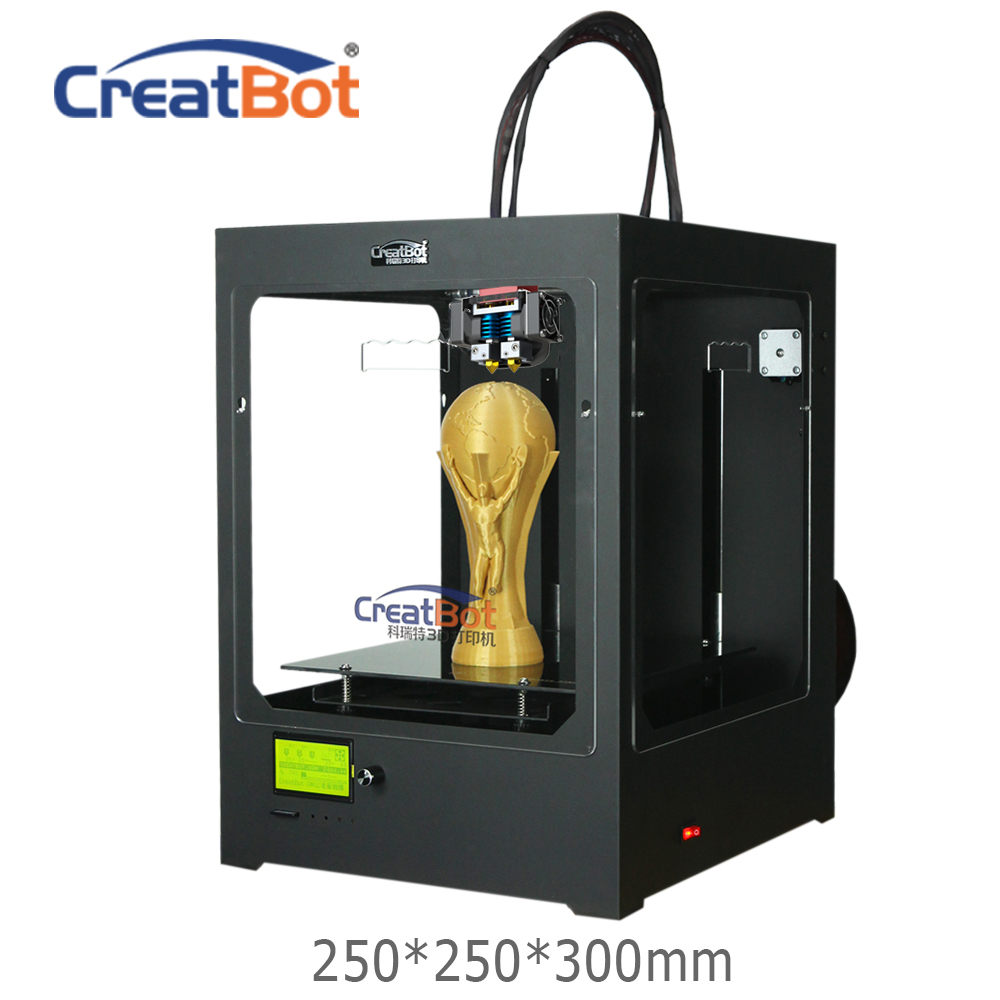 FREE SHIPPING DM02 250*250*300mm CreatBot 3D Printer Large Metal Frame Desktop 3d printer FDM Dual Extruder