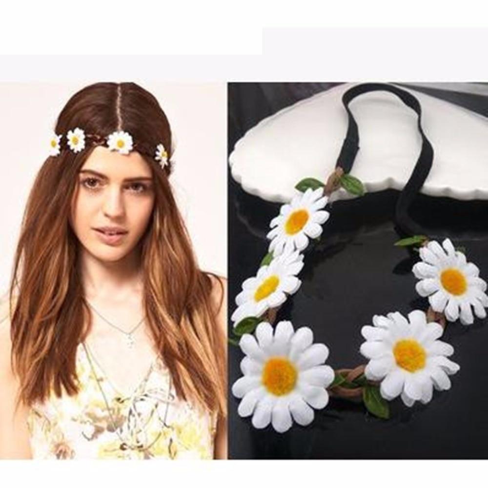 Phenovo Weave Elastic Hairband Flower Headband Daisy Chain For Party