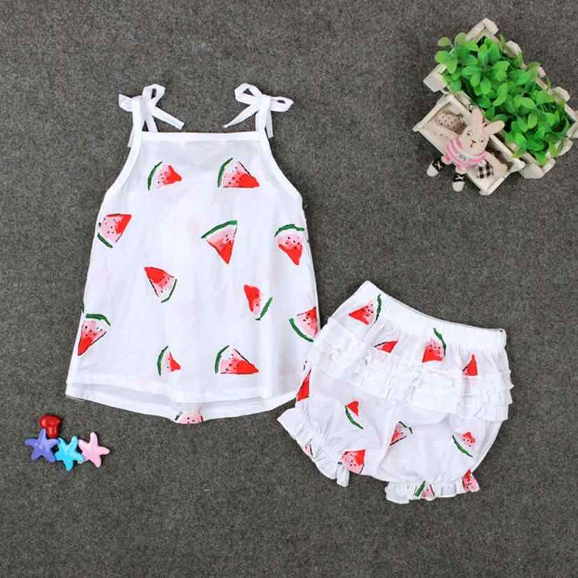 Newborn Toddler Kids Baby Girl Print Shirt Tops+Shorts Pants Outfit Set Clothes watermelon cute pattern design NEW  July26