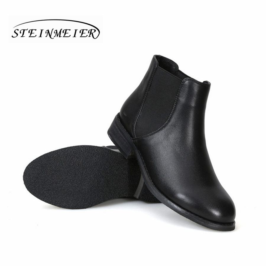 a0c59c2bbb3a Women genuine cow Leather black ankle Boots flat Chelsea boots Comfortable  soft handmade female spring short boots Shoes