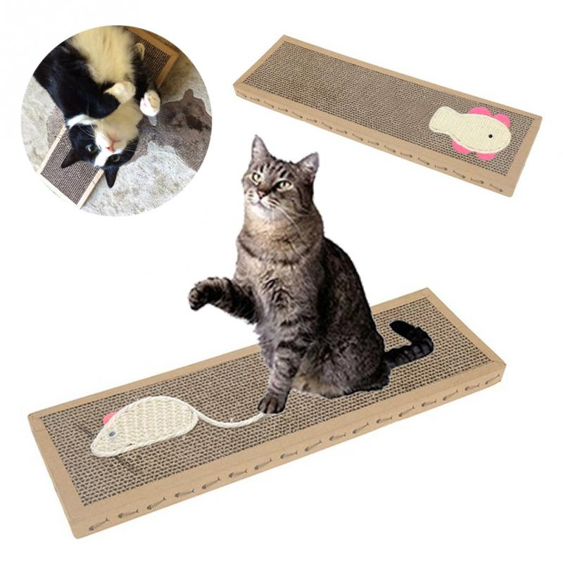2019 Hot Selling Mouse Fish Patterns Style Pet Cat Scratch Play Pad Corrugated Safe Card Board Scratcher Toy