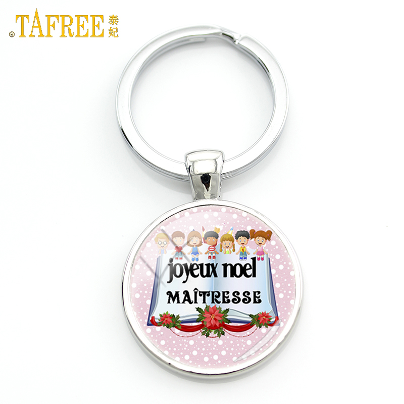 TAFREE New Fashion Merci Maitresse Gifts Keychain Super Institutrice Joyeux Noel Key Chain Ring Holder Teachers Jewelry H142
