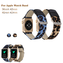 New Genuine Leather Strap for Apple watchband 4 44/40mm Leopard Canvas Bracelet Replacement band IWatch series 3 2 1 38/42mm