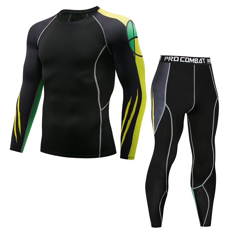 New Men's Brand Fashion Compression 2 Piece Sports Suit Tights Men's Long Sleeve Trousers Fitness T-Shirt Men's Casual Jogging G